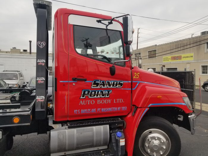 side of red truck cab