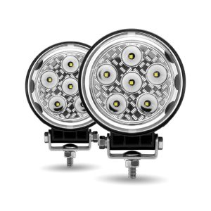pair of round work light with side facing diodes