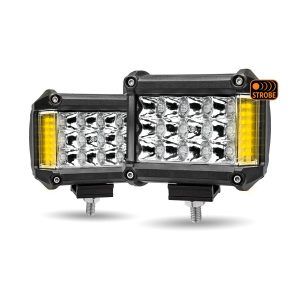 pair of rectangular l.e.d. work lights with amber strobe lights