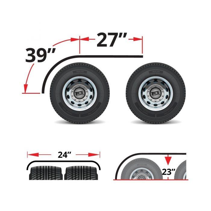 "half tandem fender over tandem wheels, showing measurements of 39"" over curve and 27"" over flat"