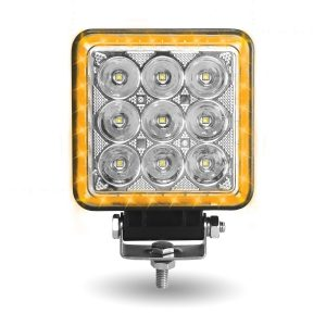 square l.e.d. work light with clear face and amber lights around edge