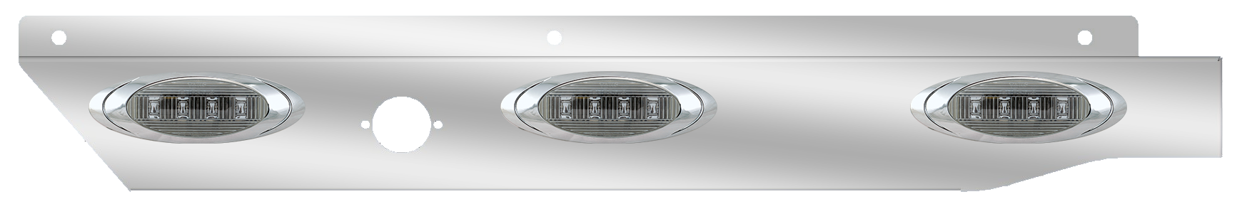 three l.e.d. lights on a stainless steel panel