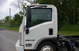 side view of white truck cab
