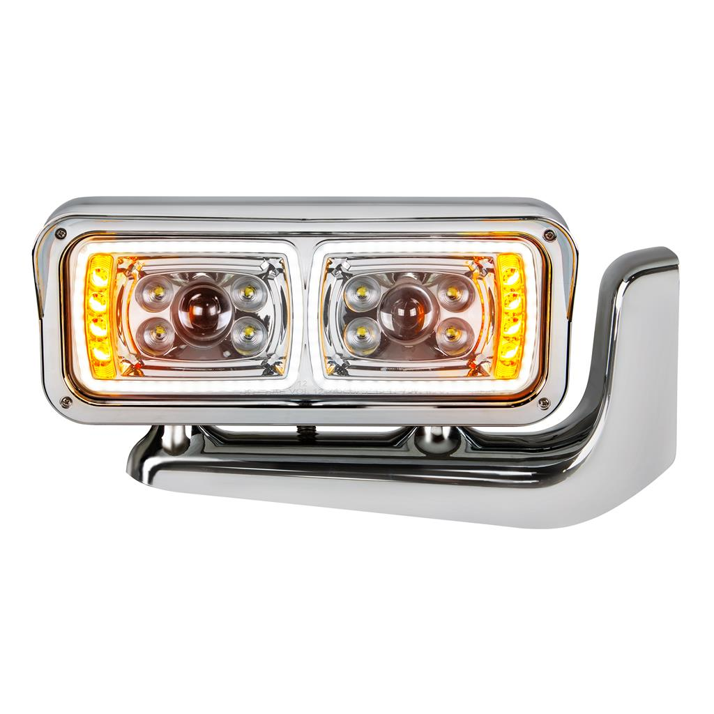 CHROME HEADLIGHT WITH MOUNTING ARM
