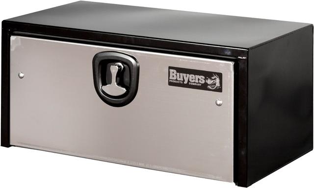 black toolbox with stainless steel door