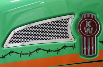 AIR INTAKE COVER ON GREEN TRUCK