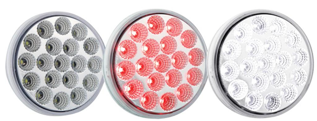 round 19 diode l.e.d. lens, shown unlit, with red lights, and with white lights