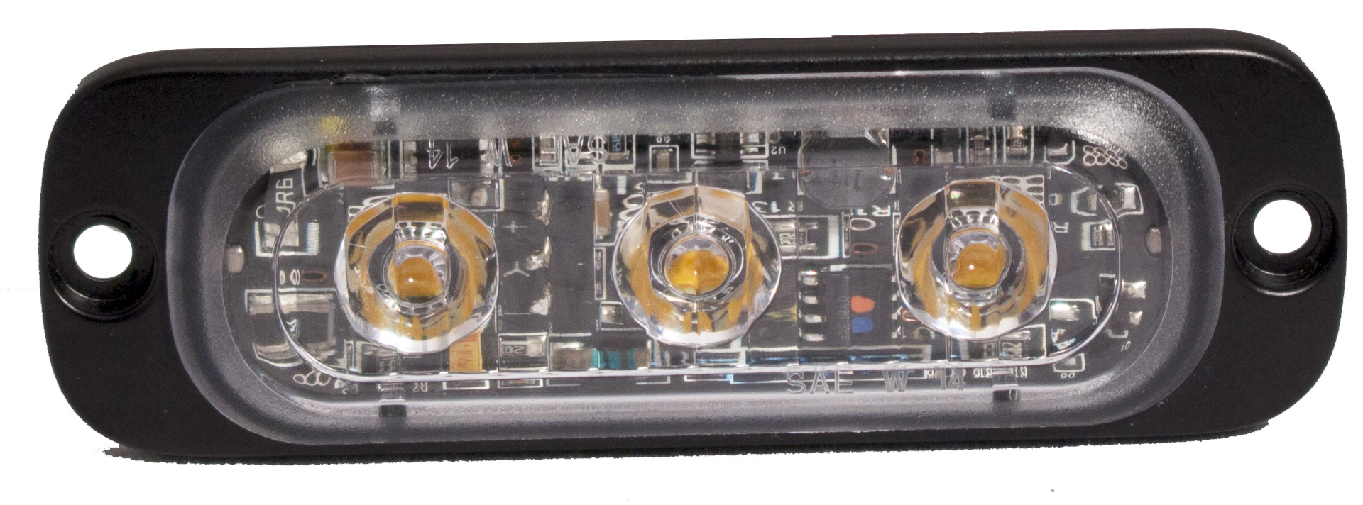 clear lens rectangular light, with 3 diodes