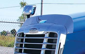 quarter profile view of blue truck cab