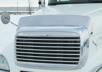 close view of white truck cab