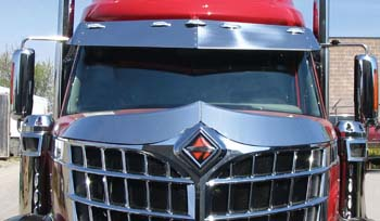 front view of red truck cab