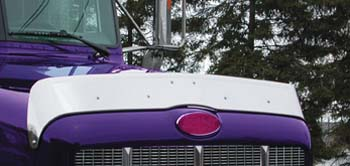 quarter profile view of purple truck cab