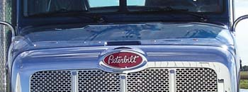 close front view of peterbilt truck