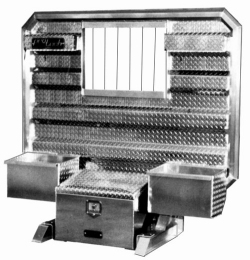 cab guard with tool box and chains