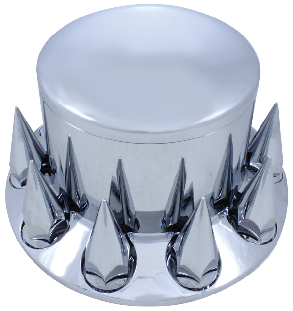 chrome look high hat style axle cover with spike lug nut covers