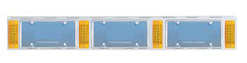 triple license plate holder with 4 amber l.e.d. lights, one each side and one between each frame