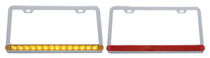 two license plate frames, one with red light, one with amber lights
