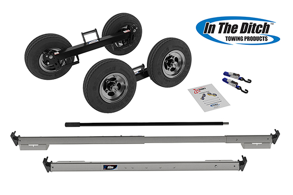 tow dolly set, - 2 axles with wheels, carry handle, breakover bar and hardware