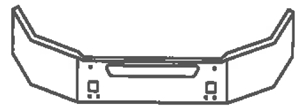 drawing of curved front bumper with vent and 2 tow holes