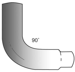 drawing of 90 degree reducing elbow