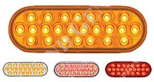 oval pearl series light with 24 l.e.d.'s, shown with amber, red, clear/red or clear/amber lights