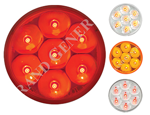 "2"" round light with 7 l.e.d.'s, shown with red, clear/red, amber, or clear/amber lights"
