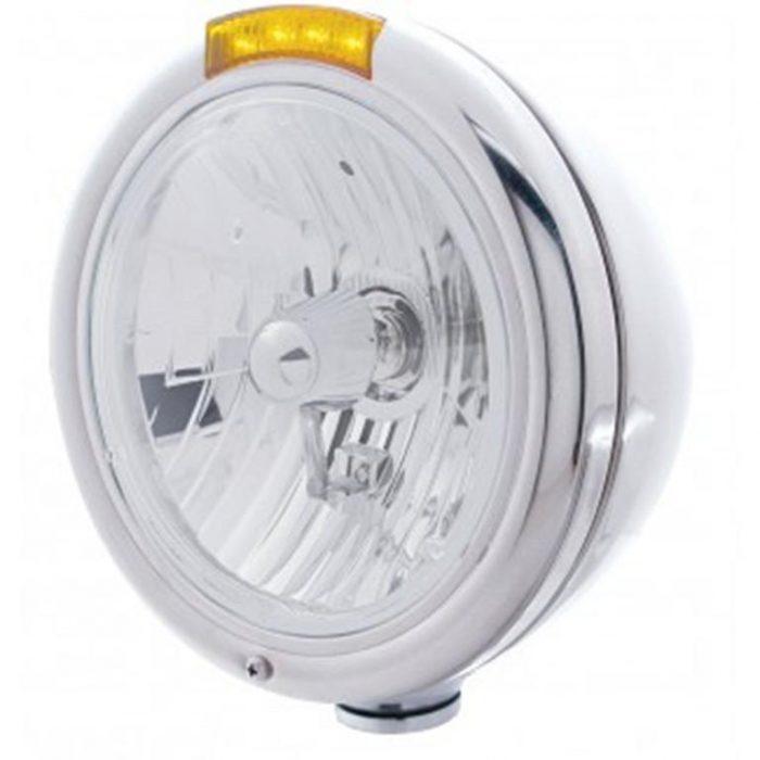 round headlight with upper amber strobe