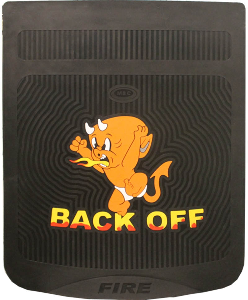 """BLACK MUDFLAP WITH YELLOW BABY DEVIL AND WORDS """"BACK OFF"""""""