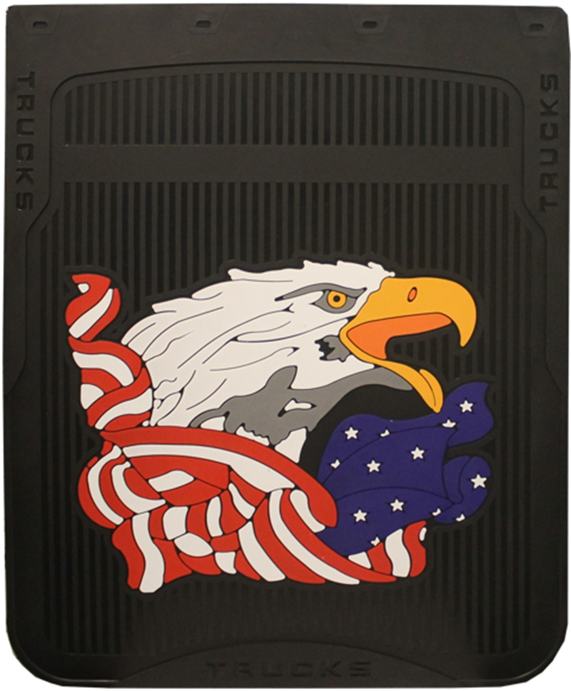 BLACK MUD FLAP WITH EAGLE HEAD AND WAVING AMERICAN FLAG