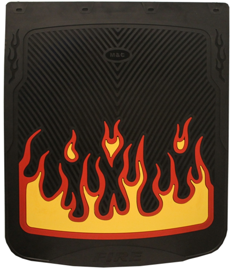 BLACK MUD FLAP WITH YELLOW AND RED FLAMES