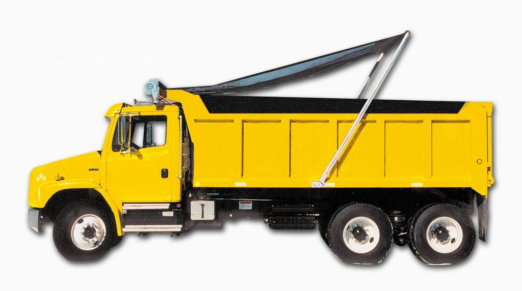 yellow dump trucking with open tarp