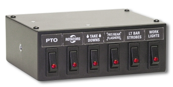 BLACK SWITCH BOX WITH 5 BLACK AND RED SWITCHES