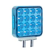 square l.e.d. light, lit blue