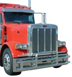 red truck with bumper guard