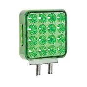 square l.e.d. light, lit green