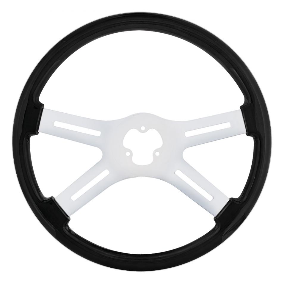 black steering wheel with chrome spokes