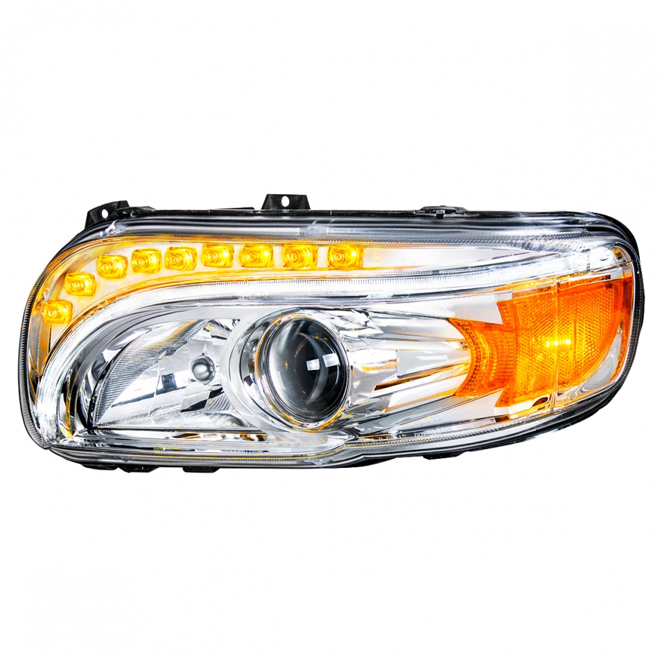 l.e.d. headlight assembly with white and amber lights