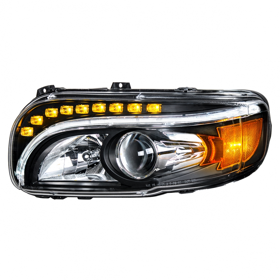 blackout style l.e.d. headlight assembly with white and amber lights