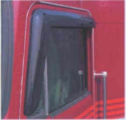window of red truck cab