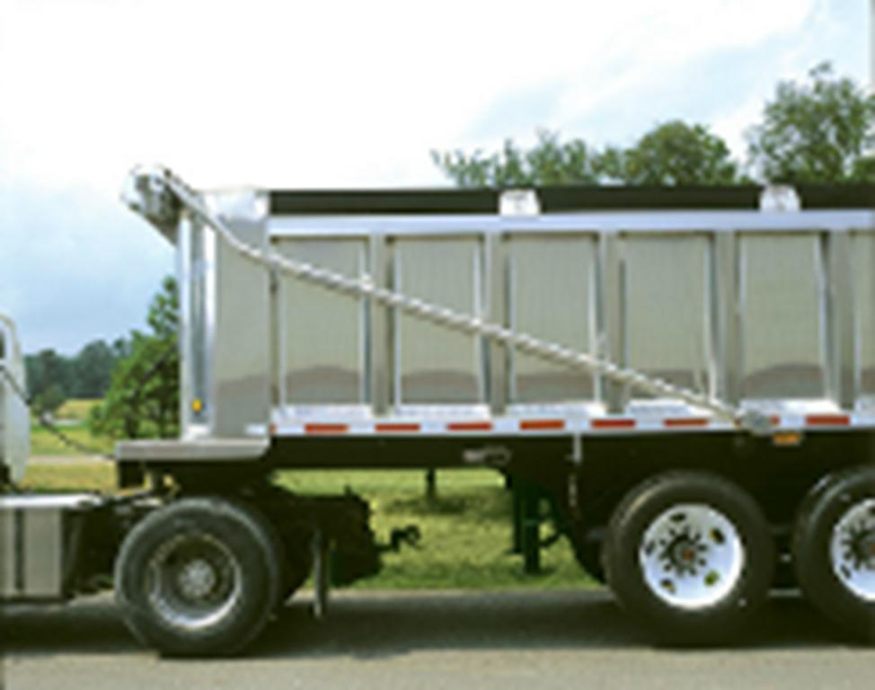 silver roll-off container with tarping system