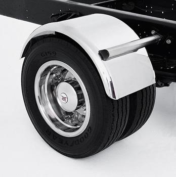 stainless steel fender over dual wheel axle