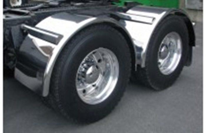pair of smooth aluminum half round fenders on wheel