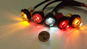 5 l.e.d. lights, amber, red, clear, red amber shown with a penny for scale