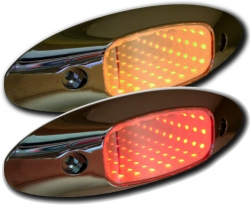 2 chrome housing lights, one amber tunnel effect, one red tunnel effect