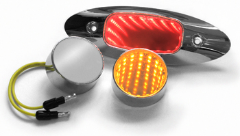 chrome lights with tunnel effect in red or amber lights, shown 3 ways, oval red light, round amber light, or unlit blank chrome