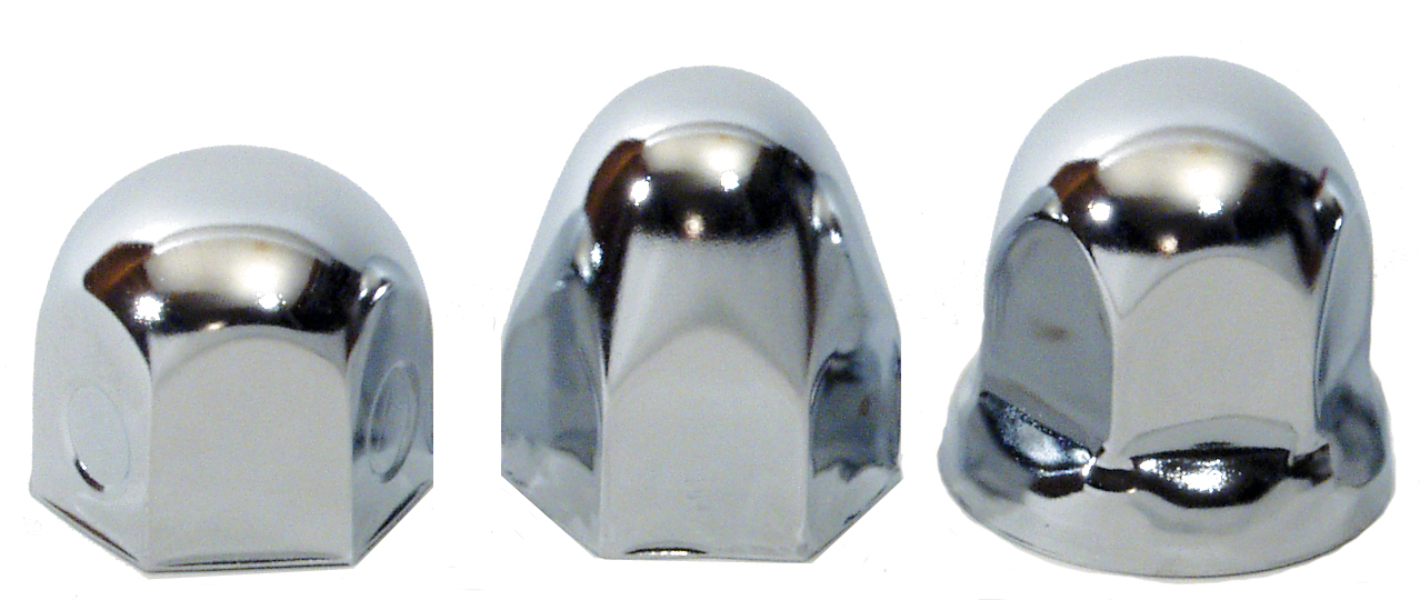 3 CHROME LUG NUT COVER, 1 ROUND, 1 BULLET, 1 FLANGED