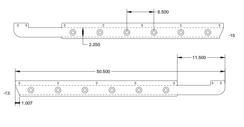 technical drawing of truck cab panels