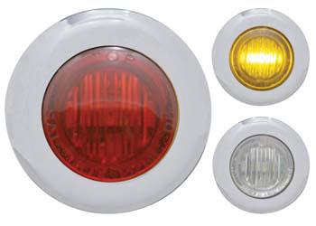 THREE ROUND LIGHTS, ONE WITH RED LENS, ONE WITH CLEAR LENS AND AMBER LIGHT, ONE CLEAR LENS NO LIGHT COLOR