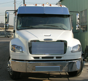 front of white truck cab